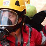 Lady Wearing Gas Mask