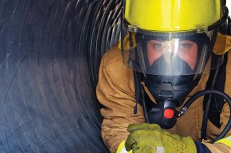 Man in Confined Tunnel